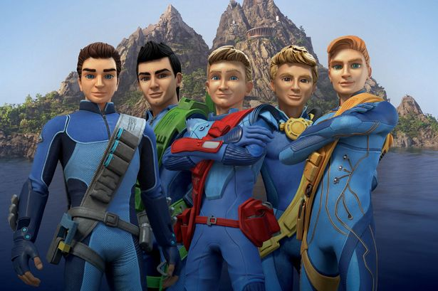The-Thunderbirds-from-the-left-Scott-Virgil-Alan-Gordon-and-John-in-front-of-their-home-Tracy-Island